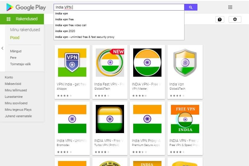 India VPN Google Play
